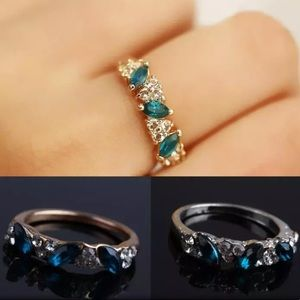 Gold Blue Crystal Ring!
